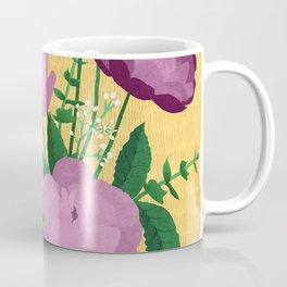 Violet Blooms on Textured Mustard Yellow Coffee Mug