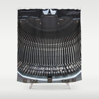typewriter Shower Curtains featuring OLD TYPEWRITER by CAPTAINSILVA