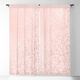 She Sparkles Rose Gold Pastel Pink Luxe Geometric Blackout Curtain