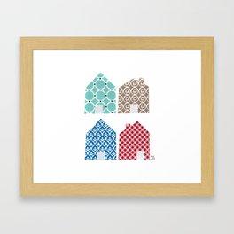 4 casitas esgrafiadas con colores. Houses. House. Framed Art Print