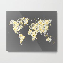 Yellow Flowers World Map Metal Print