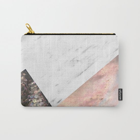 Marble with sequins and mother of pearl Carry-All Pouch