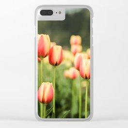 Orange Tulips Clear iPhone Case