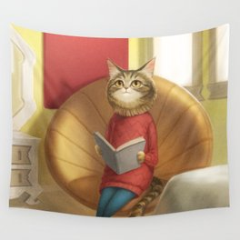 A cat reading a book Wall Tapestry