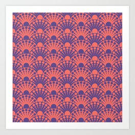 living coral and ultra violet art deco inspired fan pattern Art Print