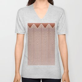 Art Deco Geometric Arrowhead Dusty Peach Design Unisex V-Neck