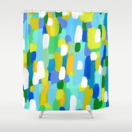Meet Me In The Woods - green blue abstract painting white mint green brush lines pattern Shower Curtain