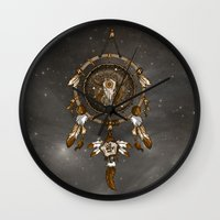 dreamcatcher Wall Clocks featuring DreamCatcher by Paula Belle Flores