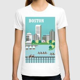 Boston, Massachusetts - Skyline Illustration by Loose Petals T-shirt