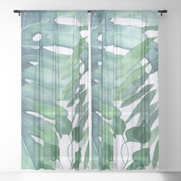 Tropical  Leaves Sheer Curtain