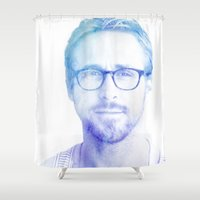 ryan gosling Shower Curtains featuring Ryan by Sharna Myers