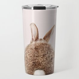 Baby Rabbit Tail With Pink Background, Baby Animals Art Print By Synplus Travel Mug