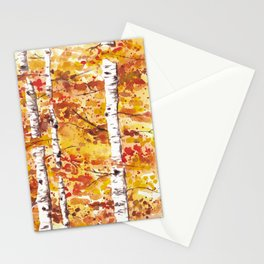 Fall Birch Trees Stationery Cards