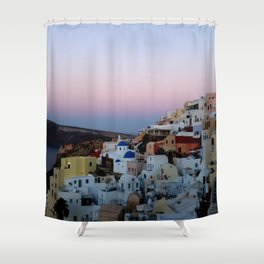 Dawn of Santorini Greece Shower Curtain