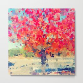Orange Tree Watercolor digital Metal Print
