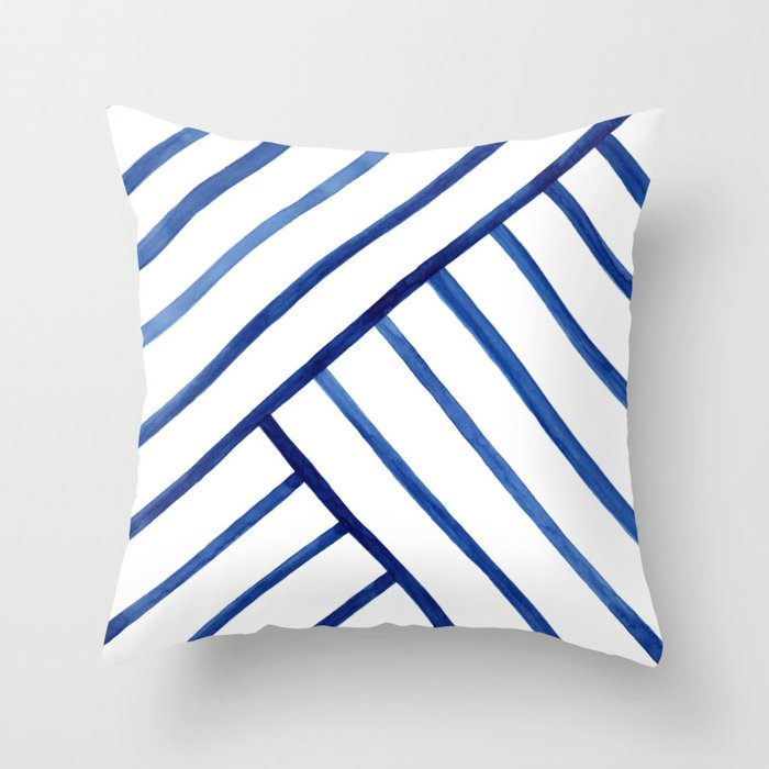 Watercolor lines pattern   Navy blue Throw Pillow
