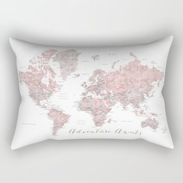 World map in dusty pink & grey watercolor, Adventure awaits Rectangular Pillow