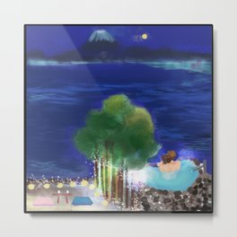 Mid-Autumn Onsen at Fuji Metal Print