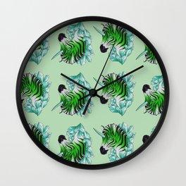Green Zebracorn Wall Clock