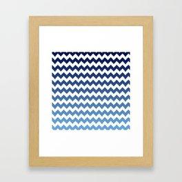 blue ombre ikat cheveron Framed Art Print