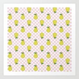 Checked Pears Art Print