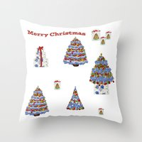 cape cod Throw Pillows featuring Merry Christmas Cape Cod by KarenHarveyCox