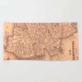 Vintage Map of Charleston South Carolina (1849) Beach Towel