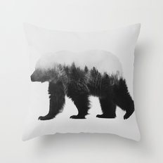 Brown Bear (black & white version) Throw Pillow