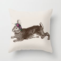 The Rabbit and Roses Throw Pillow