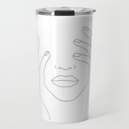 Minimal Line Art Woman with Hands on Face Travel Mug