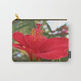 Soft Red Hibiscus With Natural Garden Background Carry-All Pouch