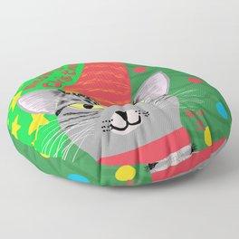 Christmas Cat short hair grey tabby yellow eyes Floor Pillow