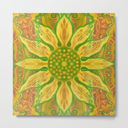 """Sun Flower"", bohemian floral, yellow, green & orange Metal Print"