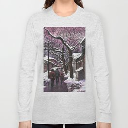 Snowy street at nightfall Long Sleeve T-shirt