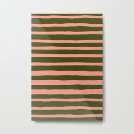 I Got Stripes in Hunter Green + Pink Metal Print
