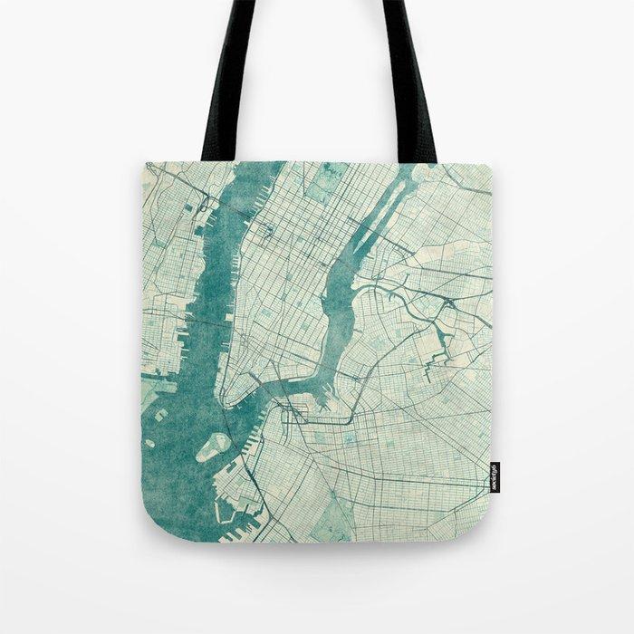 New York Map Blue Vintage Tote Bag