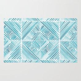 Blue Watercolor Dash Squares Rug
