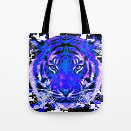 camouflage tiger on blue Tote Bag