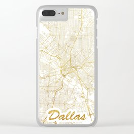 Dallas Map Gold Clear iPhone Case