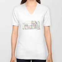 tokyo V-neck T-shirts featuring Tokyo by Ursula Rodgers