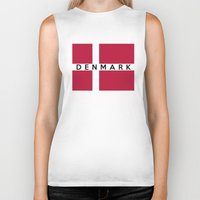 denmark Biker Tanks featuring Denmark country flag name text by tony tudor