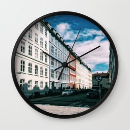 Painting of a Sunny Pastel-Coloured Residential Street in Central Copenhagen, Denmark Wall Clock