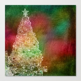 Christmas Tree on Vibrant textured background Canvas Print
