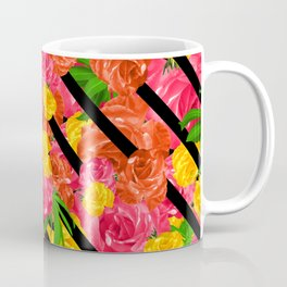 Bold Tropical Spring Floral With Stripes Coffee Mug
