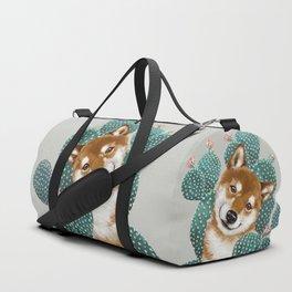 Shiba Inu and Cactus Duffle Bag