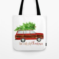 craftberrybush Tote Bags featuring Christmas Wagoneer  by craftberrybush