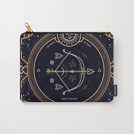 Sagittarius Zociac Golden White on Black Background Carry-All Pouch