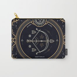 Sagittarius Zodiac Golden White on Black Background Carry-All Pouch
