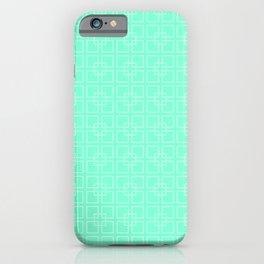 Aquamarine and White Interlocking Square Pattern iPhone Case