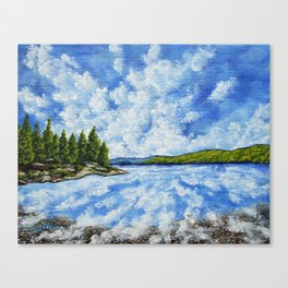 Hemlock Lake by Mike Kraus - finger lakes upstate ny new york nature water sky clouds beautiful tree Canvas Print